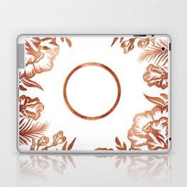Letter O - Faux Rose Gold Glitter Flowers Laptop & iPad Skin