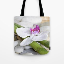 white Orchid flower  and green Bamboo still life Tote Bag