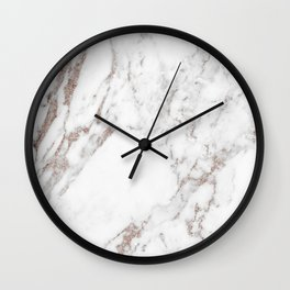 Rose gold shimmer vein marble Wall Clock