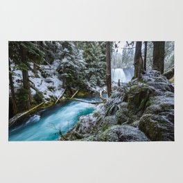Blue River Waterfall Flows Through Snowy Forest Rug
