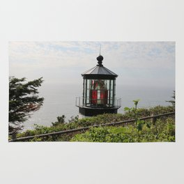 The Red Beacon On Tillamock Bay Rug