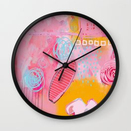 story of N - abstract painting Wall Clock