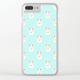 Lucky happy Japanese cat pattern Clear iPhone Case