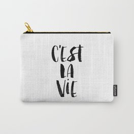 C'est La Vie black and white watercolor typography wall art home decor hand lettered life quote Carry-All Pouch