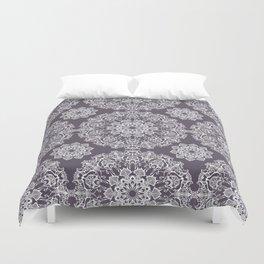hand drawn white mandala on dark violet background Duvet Cover