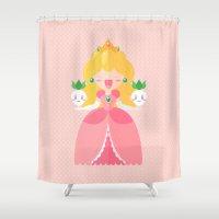 princess peach Shower Curtains featuring Peach by Khatii