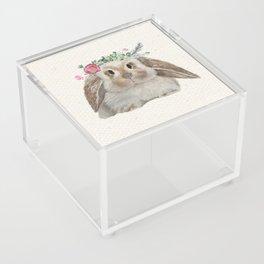 Floral Crown Bunny on Burlap Acrylic Box