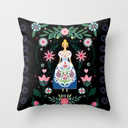 Folk Art Forest Fairy Tale Fraulein Throw Pillow