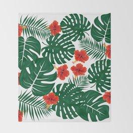 Tropical Leaves Hibiscus Flowers Throw Blanket