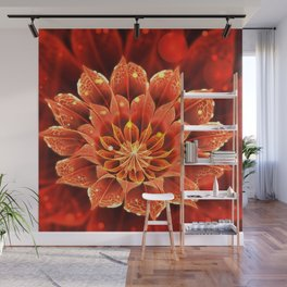 Red Dahlia Fractal Flower with Beautiful Bokeh (Vivid Crimson) Wall Mural