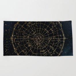 Golden Star Map Beach Towel