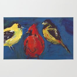 Shadow Bird (Cardinal, Goldfinches, and ?) Rug