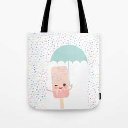 pink ice cream, ice lolly holding an umbrella. Kawaii with pink cheeks and winking eyes Tote Bag