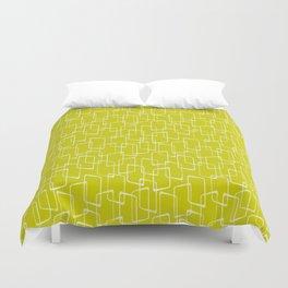 Lime Green Retro Geometric Pattern Duvet Cover