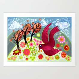 Crimson Dove Art Print