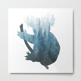 Misty Forest Koala Bear - Blue Metal Print