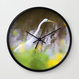 Great White Egret in the Marsh Wall Clock