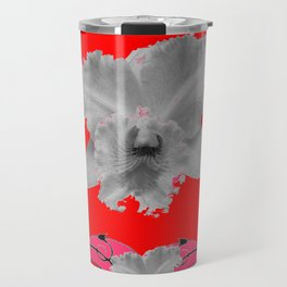 MODERN ART RED ART NOUVEAU WHITE ORCHIDS ART Travel Mug