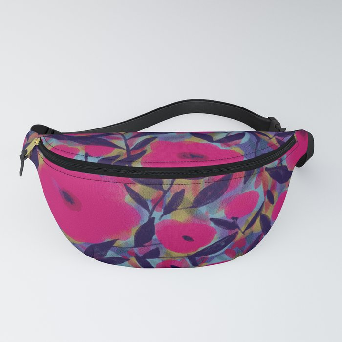 Layered Leaf Floral Fuchsia Fanny Pack