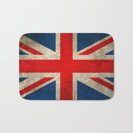 Old and Worn Distressed Vintage Union Jack Flag Bath Mat
