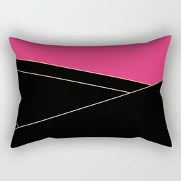 Angelica . Raspberry , black Rectangular Pillow