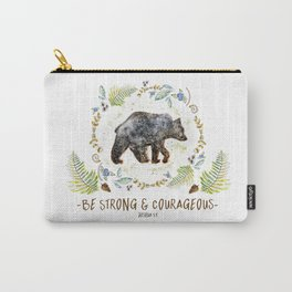 """Bear """"Be Strong & Courageous"""" Joshua 1:9 Carry-All Pouch"""