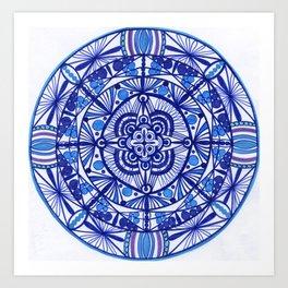 Sky blue mandala  Art Print