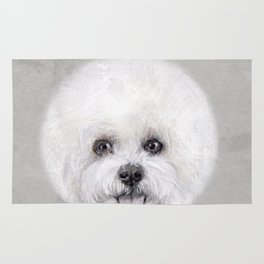 Bichon illustration, Dog illustration original painting print Rug
