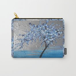 blue cherry blossom with silver grey gray white tree trees japanese japan beautiful prints Carry-All Pouch