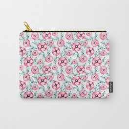 Magenta pink teal aqua watercolor modern floral Carry-All Pouch