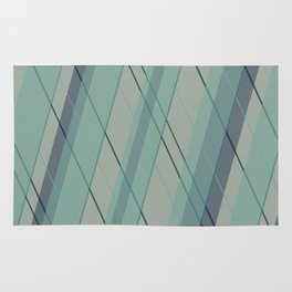 Teal blue green stripes Rug