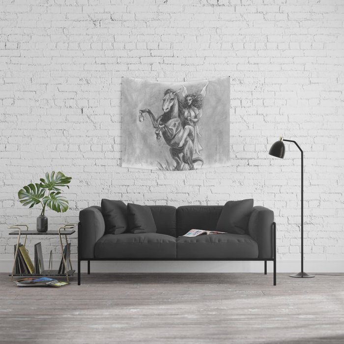 Fairy Queen on her Horse Wall Tapestry