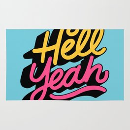 hell yeah 002 x typography Rug