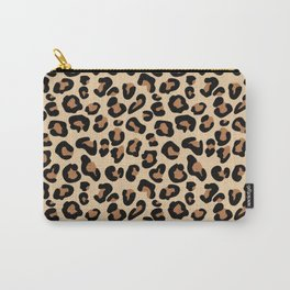 Leopard Print, Black, Brown, Rust and Tan Carry-All Pouch