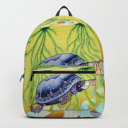 Swimming Spotted Turtle, Turtle Art Backpack