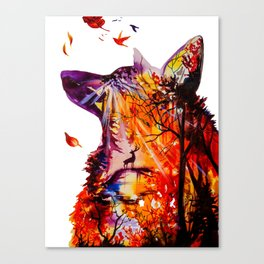 Autumn (The wolf, the deer and the autumn, christmas forest) Canvas Print
