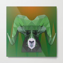 Low Poly Ram Metal Print