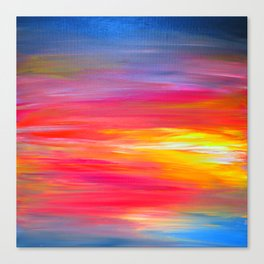 BRIGHT HORIZONS Bold Colorful Rainbow Pink Yellow Blue Abstract Painting Sunrise Sunset Stripes  Canvas Print