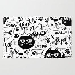 MONOCHROME CAT FACES PATTERN Rug