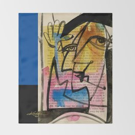 """Funky Face Abstract, """"I See 32"""" by Kathy morton Stanion Throw Blanket"""