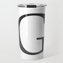 Letter G Initial Monogram Black and White Travel Mug