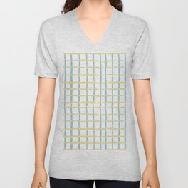 Pastel yellow teal watercolor geometrical checker stripes Unisex V-Neck