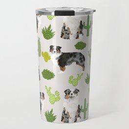 Australian Shepherd owners dog breed cute herding dogs aussie dogs animal pet portrait cactus Travel Mug