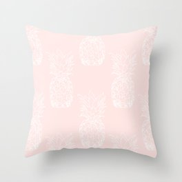 Peite pineapples pink Throw Pillow