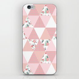 Quilt quilter cheater quilt pattern florals pink and white minimal modern nursery art iPhone Skin