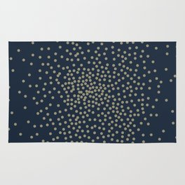 Dots Illusion - Gold and Navy Blue Rug