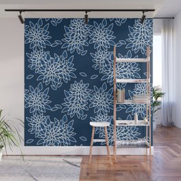 Blue abstract flowers . Wall Mural