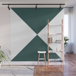 Four Triangles (White & Jungle Green Pattern) Wall Mural