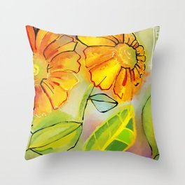 Sunflowers in the Morning Throw Pillow