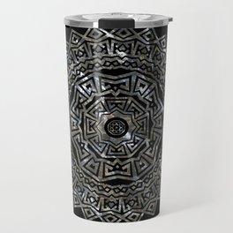 Aztec Mexican Silver Mandala Travel Mug